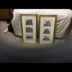 2 Italy Photos of History in Gold Wood Frames